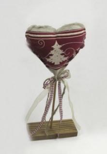 Stoff Herz auf Holzständer Tanne Deko Herzen Weihnachtsherz Holz Schleife