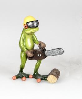 Frosch mit Kettensäge Kröte Gecko Lurch Deko Tier Figur Skulptur Froschkönig