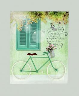Wanddeko Wandbild Leinwandbild mit Relief Metall Fahrrad Deko Bild Wandschmuck
