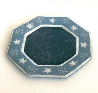 Dekoteller Weihnachtsteller Adventsteller Keramik Teller Deko Kerzen Schale 18cm