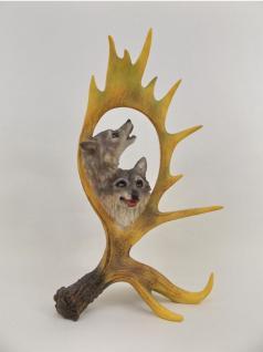 Wolf Kopf Büste in Hirsch Elch Geweih Hund Skulptur Deko Tier Figur Wildhund