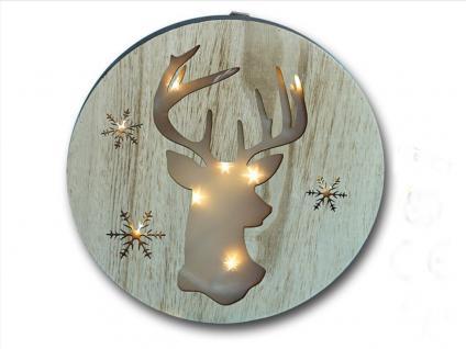 Deko Holz Wandbild LED beleuchtet Elch Rentier Hirsch Figur Leuchtbild Bild