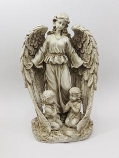 Engel mit Kinder Schutzengel Skulptur Grabschmuck Grabdeko Deko Figur Statue