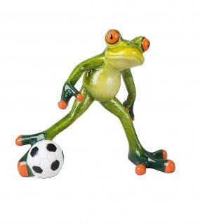 Frosch mit Fußball Kröte Gecko Lurch Echse Deko Tier Figur Skulptur Froschkönig