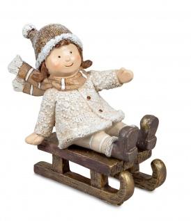 Winterkind Mädchen Nostalgie Kind Junge Winter Deko Kinder Skulptur Figur Objekt