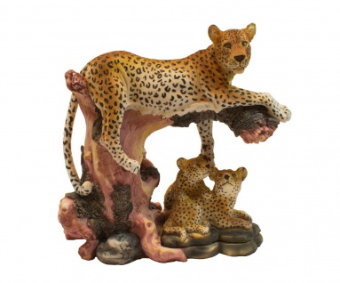 Leopard Panther Katze Skulptur Deko Afrika Figur Löwe Tiger Gepard Wildkatze