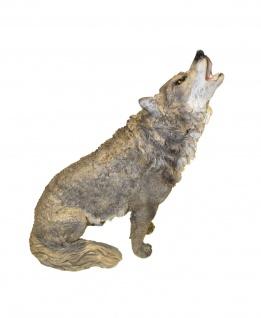Deko Wolf Hund Skulptur Wolfshund Garten Tier Figur Statue Wildhund Werwolf
