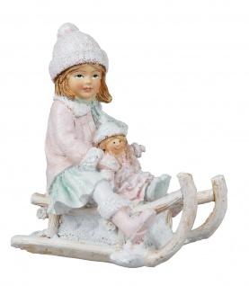 Winterkind Mädchen Schlitten Puppe Winterkinder Deko Kind Skulptur Paar Figur