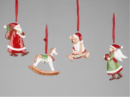 Christbaumschmuck 4 Stück Engel Weihnachtsmann Bär Schaukelpferd Deko Hänger