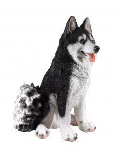 Deko Husky Hund Skulptur Schlittenhund Garten Tier Figur Statue Wildhund Wolf