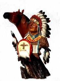 Indianer Pferd Büste Deko Western Figur Artikel Wildwest Cowboy Skulptur Statue