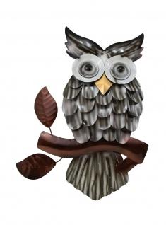 Wanddeko Eule Vogel Uhu Ziervogel Metall Deko Bild Tier Figur Wandschmuck Hänger