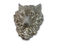 Wolf Kopf Büste Wanddeko Wandbild Hund Wildhund Deko Tier Figur Skulptur Statue