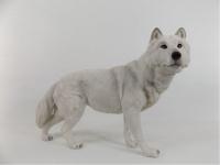 Wolf weiß Tierfigur Hund Skulptur Deko Tier Wölfe Figur Statue Wildhund abstrakt