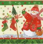 20 Servietten Schneemann Tannen Tischdeko Napkins Serviette Deko Weihnachten