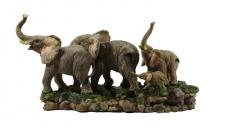 Elefant mit Baby Kind Skulptur Elefanten Familie Deko Garten Tier Afrika Figur