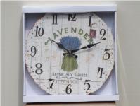 Wanduhr Wand Deko Uhr Lavendel Holz Hänger Küchenuhr Landhaus Shabby Vintage