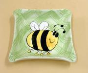 Schale Schälchen Aschenbecher aus Keramik eckig Biene