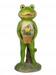 Frosch Kröte Unke Gecko Lurch Garten Deko Tier Figur Skulptur Froschkönig Blume