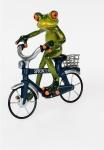 Frosch auf Fahrrad Kröte Lurch Deko Tier Figur Skulptur Froschkönig Laubfrosch