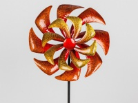 Gartenstecker Windmühle doppel Windrad Metall Blume Beet Stab Garten Deko Figur