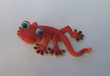 Gecko Lurch Echse Eidechse Drachen Deko Tier Figur Skulptur Wanddeko Wandbild