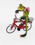 Frosch Dame Fahrrad Kröte Lurch Deko Tier Figur Skulptur Froschkönig Laubfrosch