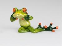 Frosch Zunge raus Kröte Lurch Gecko Deko Tier Figur Skulptur Froschkönig Echse