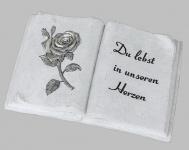 Grabschmuck Grabstein Gedenkstein Buch mit Spruch Rose Grab Deko Figur Skulptur