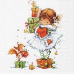 20 Servietten Kind m Geschenken Eichhörnchen Napkins Serviette Deko Weihnachten