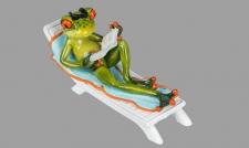 Frosch Liege Buch Kröte Lurch Deko Tier Figur Skulptur Froschkönig Laubfrosch