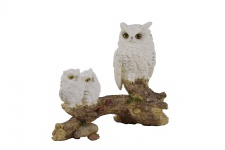 Eule mit 2 Baby Schneeeule Paar Uhu Skulptur Deko Garten Tier Vogel Figur Statue