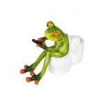 Frosch auf Toilette Kröte Lurch Deko Tier Figur Skulptur Froschkönig Laubfrosch