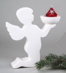 Engel Dekoengel mit Teelichthalter Keramik Schutzengel Deko Figur Skulptur
