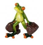 Frosch m Reisetasche Kröte Lurch Deko Tier Figur Skulptur Froschkönig Laubfrosch