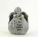 Grabschmuck Engel Grabstein Rose Spruch Kreuz Gedenkstein Grabdeko Deko Figur