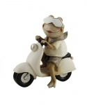 Frosch auf Roller Motorroller Gecko Lurch Deko Tier Figur Froschkönig Skulptur