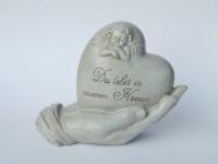 Grabschmuck Herz in Hand Spruch Engel Grabstein Gedenkstein Grabdeko Deko Figur