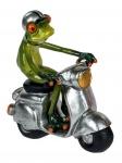 Frosch auf Motorroller Kröte Gecko Lurch Deko Tier Figur Skulptur Froschkönig