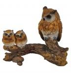 Eule mit 2 Baby Uhu Kauz Skulptur Deko Artikel Garten Tier Vogel Figur Statue