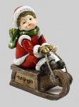 Winterkinder Winterkind auf Schlitten Deko Junge Mädchen Kinder Weihnachts Figur
