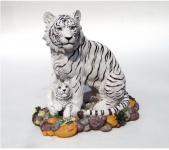 Tiger Katze Tigerfigur weiß Baby Skulptur Deko Afrika Tier Figur Statue abstrakt
