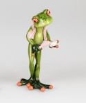 Frosch bei Zahnpflege Kröte Lurch Deko Tier Figur Skulptur Froschkönig Statue