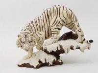 Tiger weiss auf Platte Katze Tigerfigur Skulptur Deko Tier Figur Statue Löwe