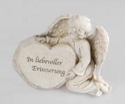 Grabschmuck Engel am Stein Grabstein Gedenkstein Spruch Grabdeko Grab Deko Figur