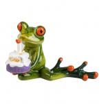 Frosch mit Kuchen Torte Party Kröte Lurch Deko Tier Figur Skulptur Froschkönig