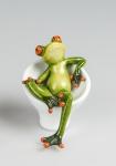 Frosch auf Stuhl Kröte Lurch Deko Tier Figur Skulptur Froschkönig Laubfrosch