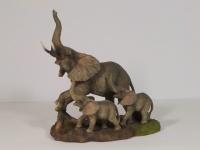 Elefant mit Baby Tierfigur Skulptur Deko Garten Tier Figur Afrika Statue Platte