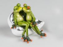 Frosch Liebes Paar auf Herz Bank Kröte Gecko Deko Tier Figur Skulptur König