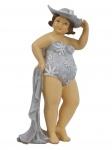 Frau im Badeanzug Mollige Dicke Dame Lady Rubens Deko Retro Figur Hut Handtuch